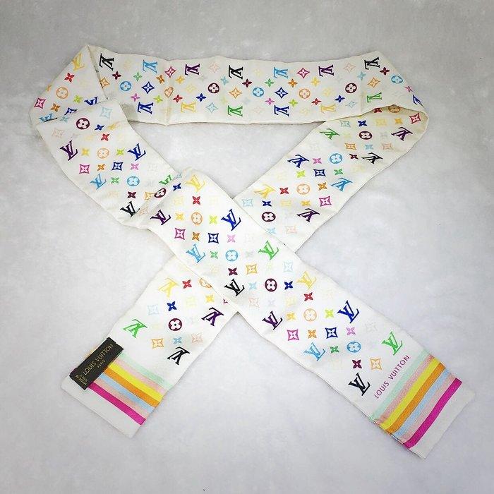 *旺角名店* ㊣ 白彩 村上隆 Logo 絲巾 領巾 圍巾 腰帶