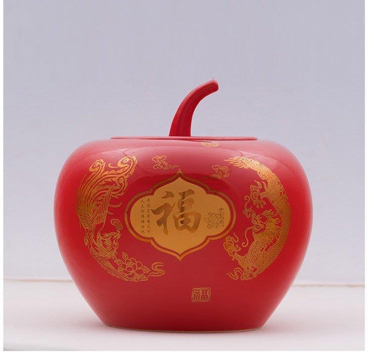 旦旦妙 中國紅喜慶陶瓷蓋罐景德鎮 紅色儲物罐 福氣盈門 大號 開心陶瓷354