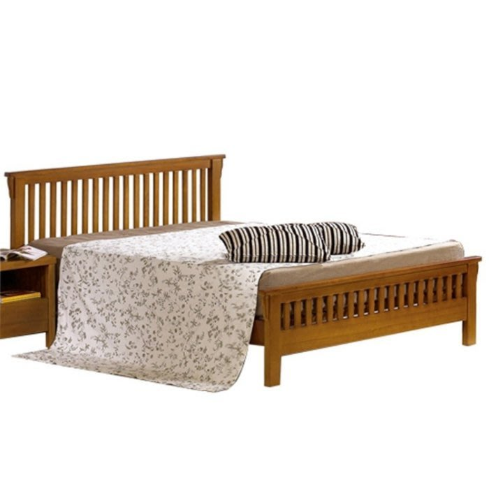 【DH】貨號N033-3名稱《娜斯》6尺精製柚木色實木雙人床架(圖一)實木床底.不含床頭櫃.備有5尺可選.主要地區免運費
