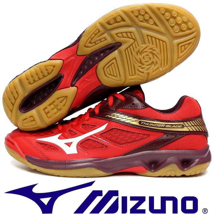 鞋大王Mizuno V1GA-17706 紅色 THUNDER BLANDE 膠底排球鞋【免運費,加贈襪子】807M
