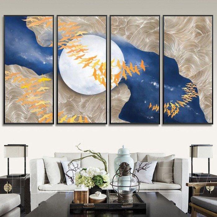 現代簡約抽象滿月藝術裝飾畫畫芯客廳背景牆無框畫心畫布編(不含框)