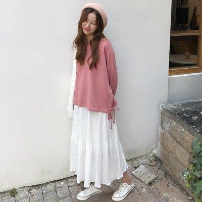 小香風 短袖T恤 時尚穿搭 韓版 時尚休閑套裝長袖衛衣外套+氣質拼接半身裙長裙兩件套女