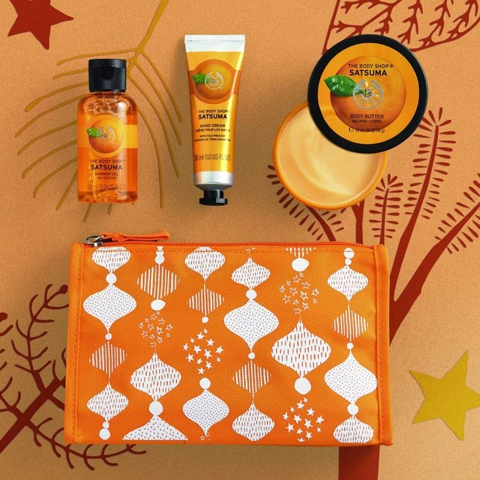 美國帶回~ The Body Shop 蜜橘柑橘 護膚旅行4件組 (沐浴露60ml+身體乳50ml + 護手霜30ml+