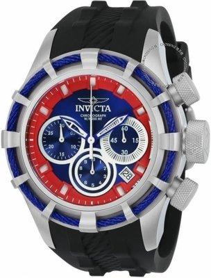 展示品 Invicta 22155 Bolt Chronograph Date Red and Blue Accents Silicone Mens