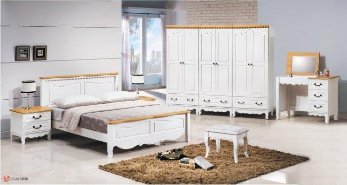 【DH】貨號A233名稱《貝雅》5尺實木床套組(圖一)床台.床頭櫃*1.鏡台組.8尺衣櫃.台灣製.可訂做.可拆賣