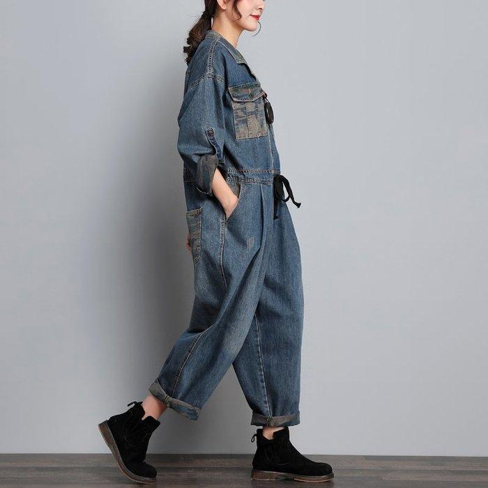 CHIC U 落拓自在秋季新款牛仔迷彩拼接連衣褲女寬鬆復古撞色長袖工裝褲