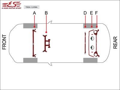 阿宏改裝部品 E.SPRING SUPER SENTRA  5件式 拉桿組 引擎室拉桿 井字拉桿 後下樑 防傾桿