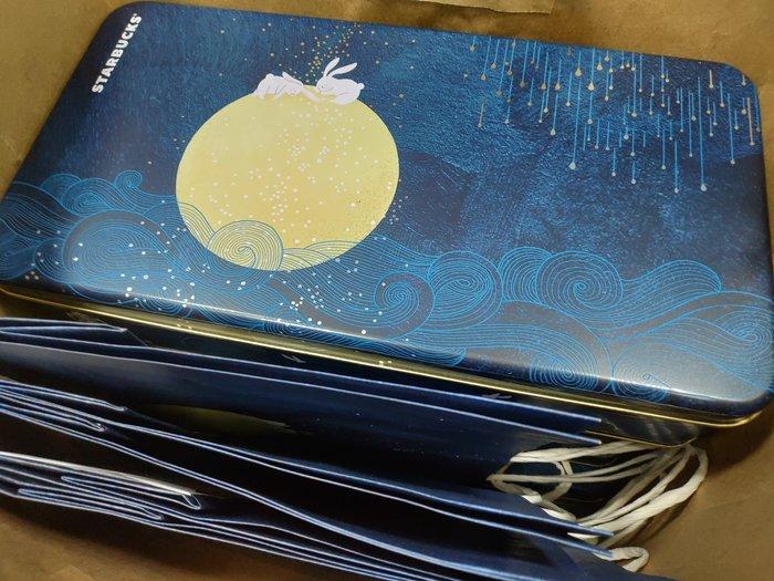 星巴客 捲心酥長形空鐵盒,有5個,咖啡及藍色可選擇,附提袋,可併運
