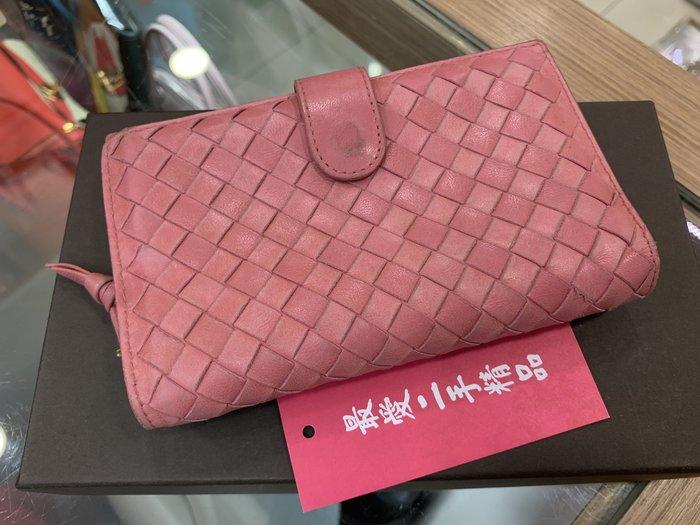 ☆最愛二手精品☆ Bottega Veneta BV 121060 粉色全皮編織拉鍊零錢袋中夾皮夾 XD3260