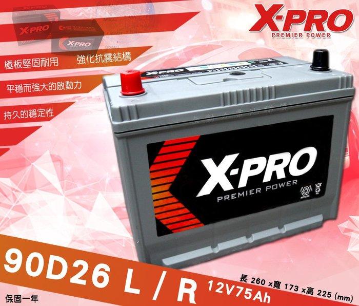 全動力-XPRO日規車款 進口電池 90D26L 90D26R (12V75Ah) 納智捷 凌志 U6 U7 IS250