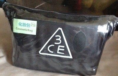 全新韓國時尚花妝包 3ce三隻眼純黑手拿包女士包包