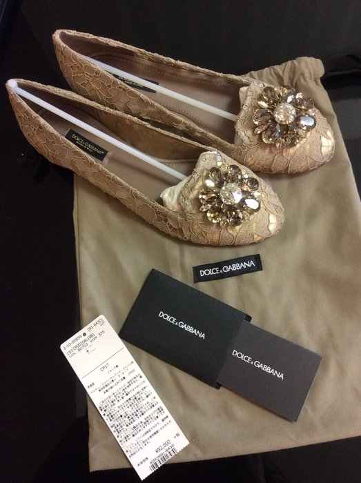 *Beauty*D&G DOLCE&GABBANA蕾絲平底鞋 37.5 號WE17 香檳金色 大水晶 水鑽 原價24500元