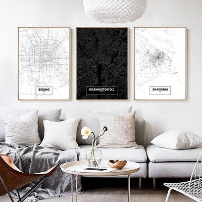 北歐簡約創意世界城市線描地圖客廳玄關裝...