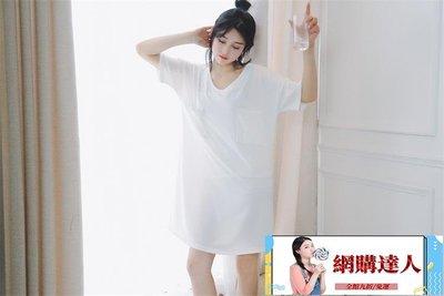 睡衣睡裙女夏可外穿公主風韓版中長款V領短袖純棉清新學生寬鬆睡衣~【網購達人】