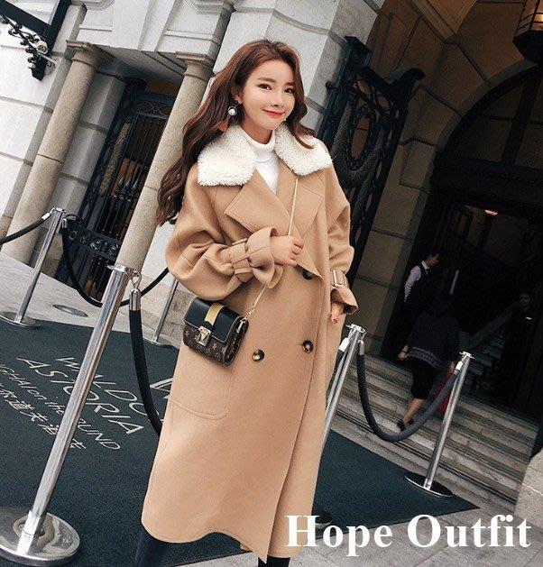 韓國 東大門 白色毛領駝色大衣外套 正韓大衣 毛呢大衣外套 正韓大衣 正韓外套