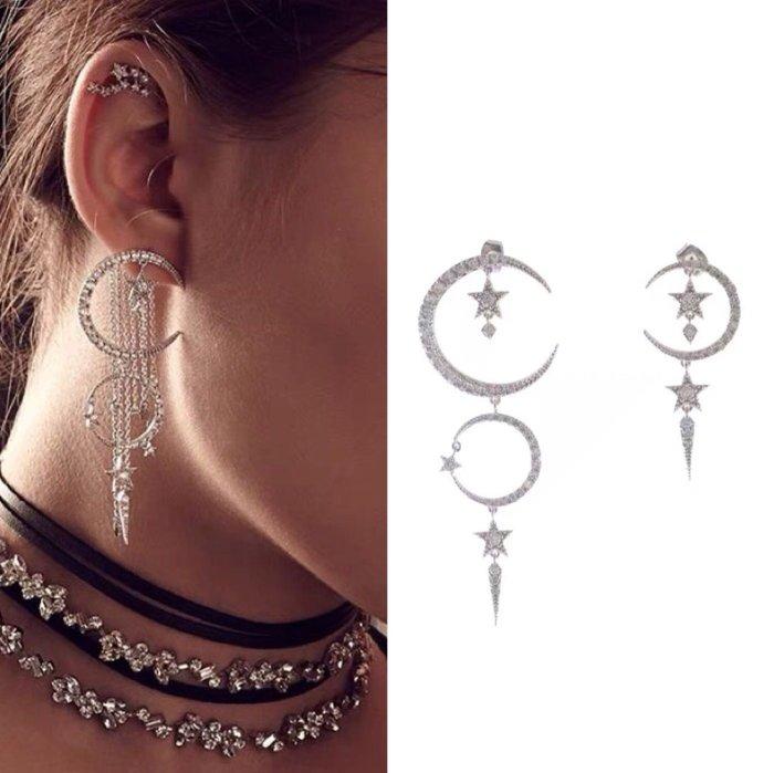 💎705、一千零一夜 雙層設計彎月鑽星耳環 💎 Swarovski Dior [EA092]