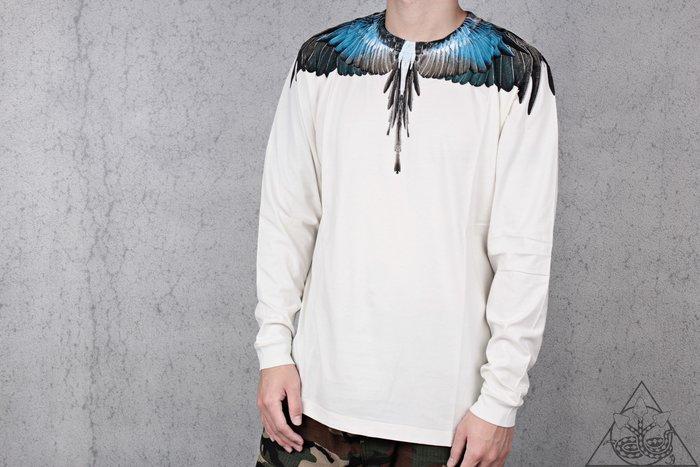 【HYDRA】Marcelo Burlon Turquoise Wings LS Tee  翅膀 羽毛 長T【MB33】
