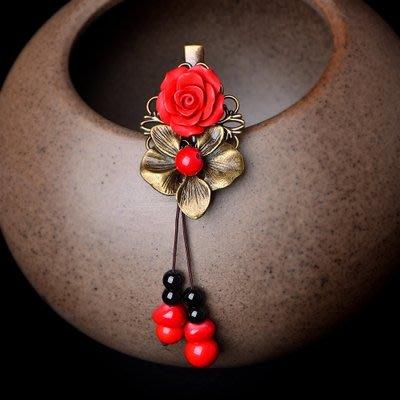 民族風 古風古裝漢服配飾 髮夾 邊夾 頭飾民族風發夾復古風頭飾 中國風紅色發卡頂夾夾子古裝古代飾品成人