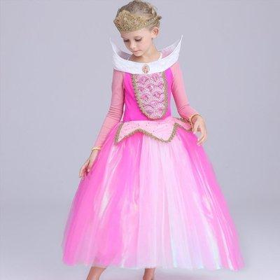 【Kathie Shop】新迪士尼睡美人奧羅拉公主女童連衣裙公主裙禮服表演服攝影服萬聖節聖誕節派對服 夏季款