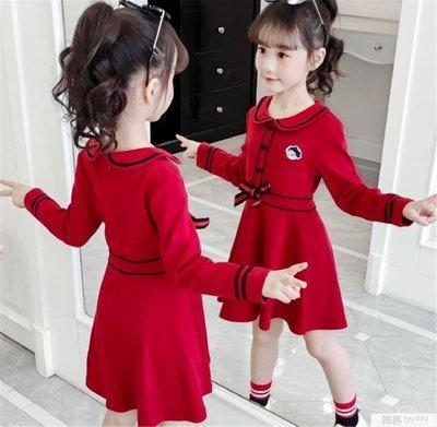 女童洋裝長袖2019秋裝新款學院風女孩公主裙中大童春秋棉布裙子 一件免運