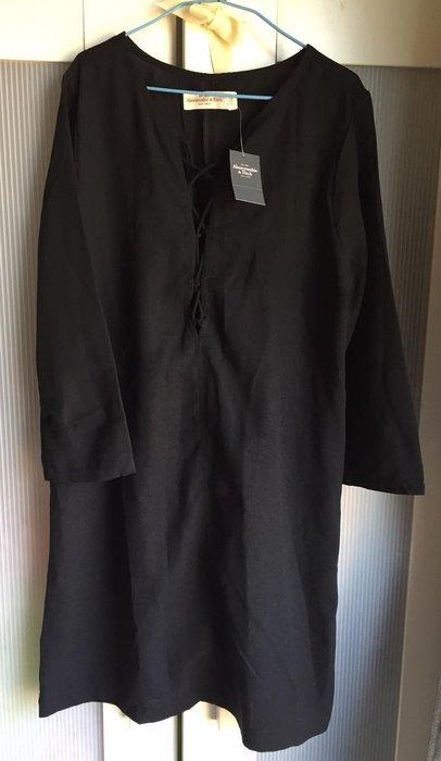 全新正品優惠免運~美國A&F abercrombie 黑色修身長版洋裝 size:xs