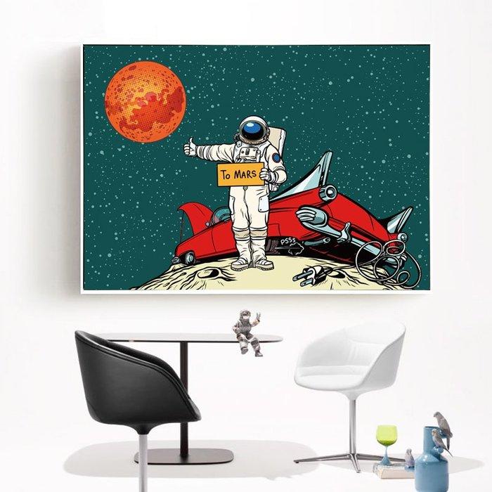 INHUASO 癮|画|所 夢想太空人掛畫太空梭版畫流行美式創意個性裝飾畫宇宙太空貓咪掛畫美式餐廳創意太空掛畫房間裝飾畫