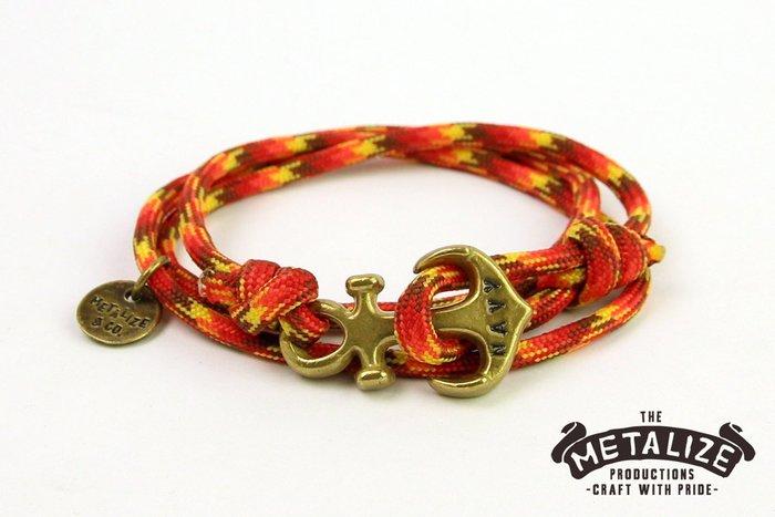 【METALIZE直營網路賣場】Anchor with rope bracel三圈式傘繩手鍊-海錨款-紅黃迷彩(古銅色)