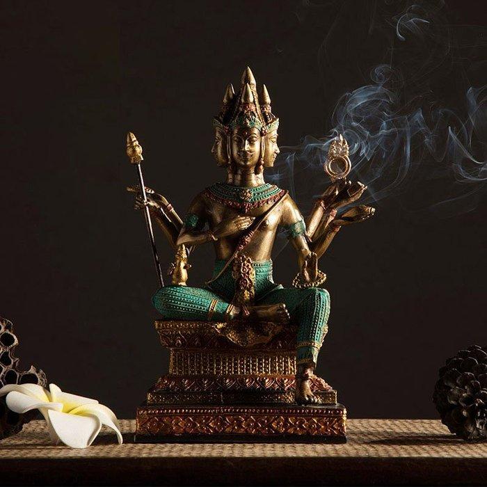 裝飾擺件 裝飾品 泰國純銅工藝品四面佛佛像擺件東南亞風格全銅裝飾品鎮宅桌面擺設