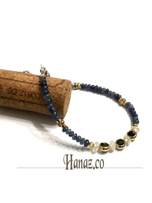 Hanaz寶石手做飾品~輕珠宝 純天然藍宝石 白玉髓/鍍14k金珠 s925精緻手鍊 手環 手串