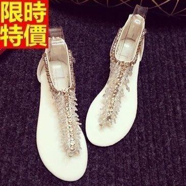 平底涼鞋 夾腳拖鞋-串珠水鑽T型綁帶女休閒鞋子2色67d6[獨家進口][米蘭精品]