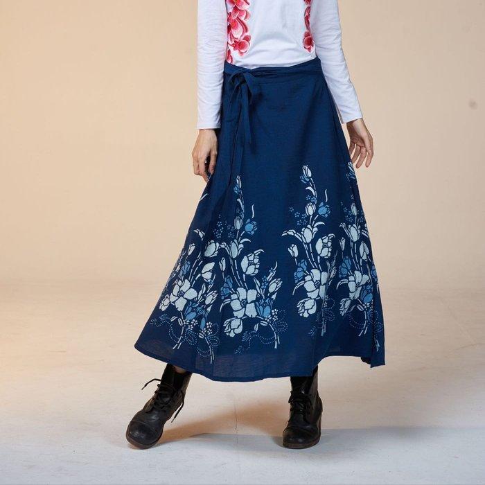 !中國藍Anewei客家藍染鬱金香一片裙-F-由下而上的美麗