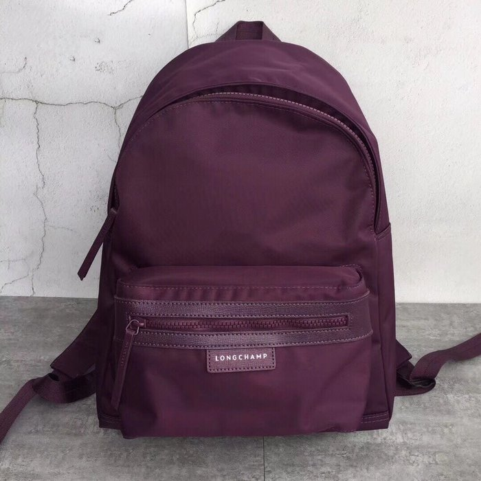 LONGCHAMP 紫色 經典雙肩後拉鍊背 輕便 防水 尼龍拼接皮革 耐用 旅遊 大款 限時優惠