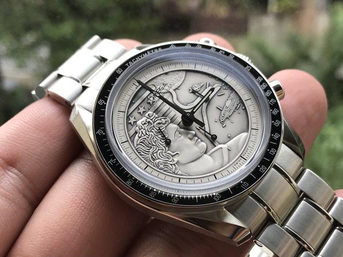 ~路米名品~ 未使用新品 OMEGA Speedmaster 阿波羅17號 40週年 浮雕 純銀 面盤 iwc
