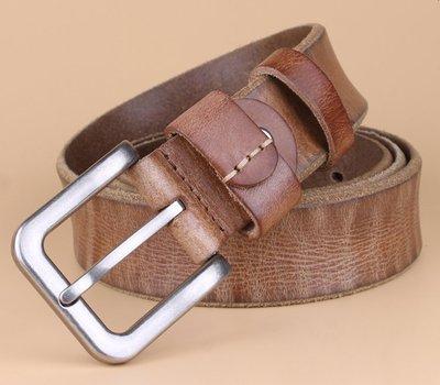 『老兵牛仔』TG8010韓版休閒牛皮針扣皮帶/頭層牛皮/復古/彈力/耐拉/個性