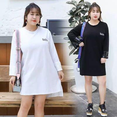 ✿plump girl 韓系✿大尺碼女裝竹節棉亮片袖印花TX022