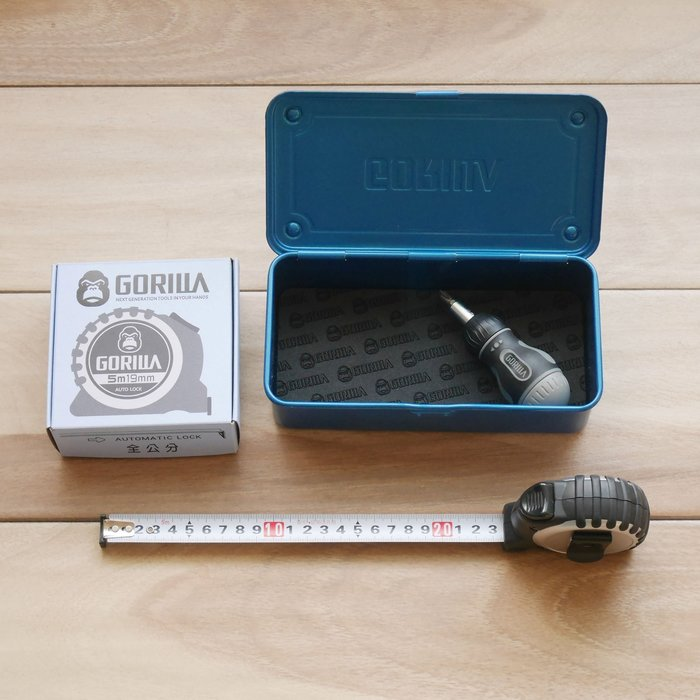 【Gorilla】全公分捲尺短起子優惠組合+頂級【Gorilla】寶藍色高張力鋼工具箱 優惠組合