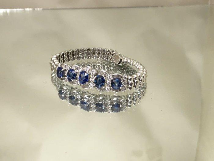 順利當舖  緬甸天然藍寶石華麗鑽石手鐲