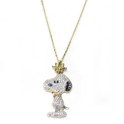 Swanky Snoopy 史奴比 18K金鑽石項鍊 白讚 + 黑鑽 + 紅寶石 + 18K金 日本限定原裝進口