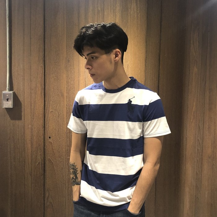 美國百分百【全新真品】Ralph Lauren T恤 RL 短袖 T-shirt Polo 大馬 條紋 深藍白 I135