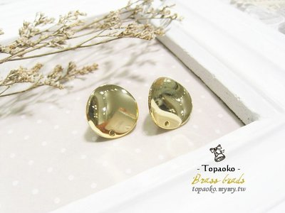 串珠材料˙耳環配件 黃銅鍍18K金圓形帶孔耳針一對2P【F7672】16mm飾品手作DIY《晶格格的多寶格》