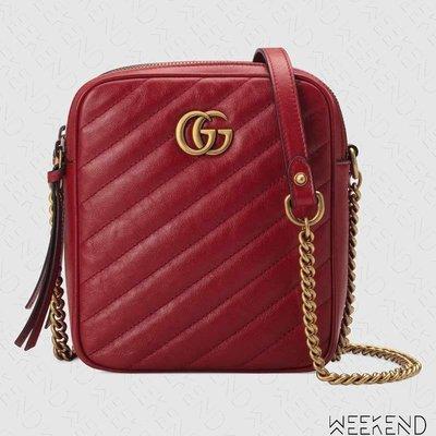 【WEEKEND】 GUCCI GG Marmont Mini 迷你 長方形 皮革 肩背包 紅色 550155
