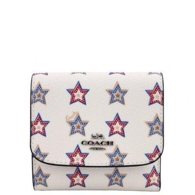 ㊣國際品牌COACH庫㊣美國代購COACH 73628 11月新款【2件免運】白色星星短款錢包 三折皮夾 女短夾