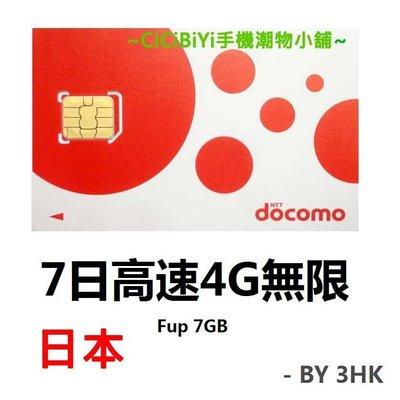 DoCoMo免繁複設置手機 日本漫遊流動數據儲值卡 7日吃到飽 高速4G / LTE速度不間斷 沒有每日限制使用量