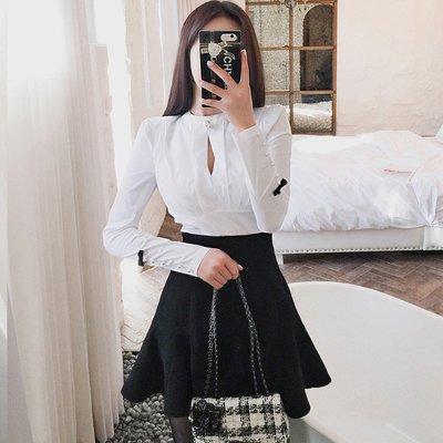 套裝女秋2018新款氣質小香風修身長袖襯衫高腰荷葉邊半身裙兩件套