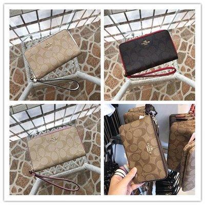 【八妹精品】COACH 57468 新款多功能小手包 手抵包 拉鏈零錢包 手機包  錢包 手腕包