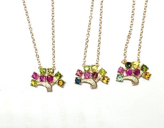((瑪奇亞朵的珠寶世界))超豪華樹款 多顆糖果碧璽鑲崁 墬子 送禮好用大器 精緻