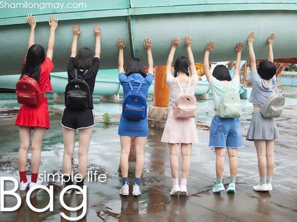 HAPPY+【V5341】日系 韓國 多色刺繡皮革 後背包 雙肩包 學生書包 簡約清新時尚 搭 牛仔裙 短褲 長襪 收納