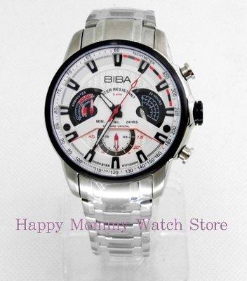 【 幸福媽咪 】網路購物、門市服務 BIBA 碧寶錶 藍寶石 三眼大錶徑石英男錶 45mm 型號:B761S017W