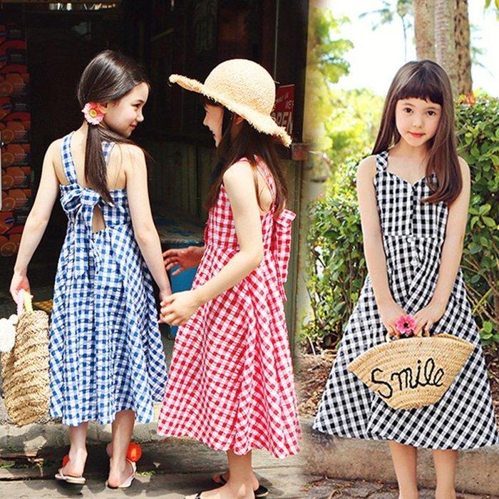 【小阿霏】兒童夏日連身裙 女孩小露背背心格子一件式連身裙子 海灘度假洋裝女童中大童尺寸CL103