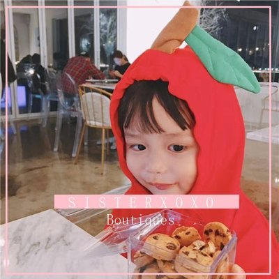 Sisterxoxo【中性款】17秋季新品 你是我的小蘋果大紅色連帽包屁衣 男寶女寶 嬰兒 新生兒 0-3歲 連身衣